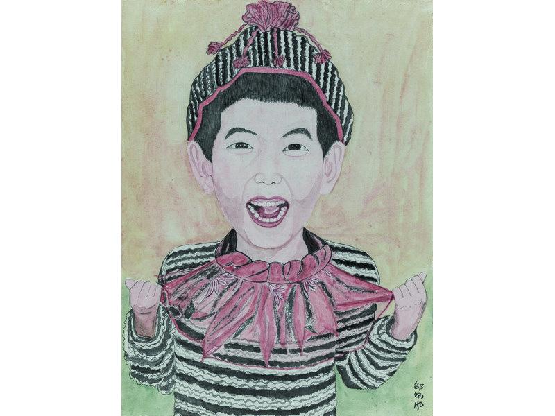 Shao Bingfeng. Grandson Shi Zitan. Lápices de colores sobre papel. Galería Paris-Beijing.