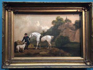 George Stubbs, Un Hunter gris avec un palefrenier et un lévrier à Creswell Crags, vers 1762-1764, Londres, Tate