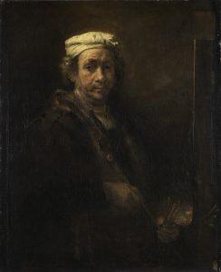 Portrait de l'artiste au chevalet – Rembrandt Avec les attributs du peintre