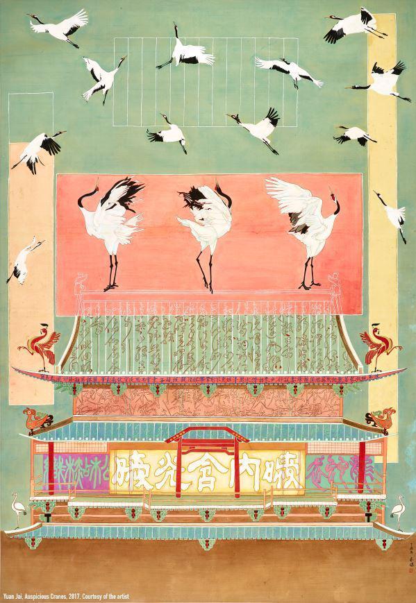 左:袁旃,《祥兆》,2017年, 绢上墨染画, 171 × 118 cm,私人收藏