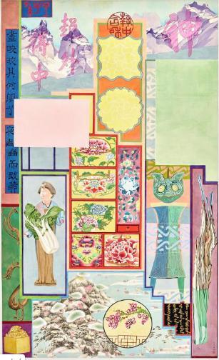 右: 袁旃, 《PAVILLION OF TREASURES》, 2018年, 绢上墨染画, 178.1 x 107.8 cm, 私人收藏