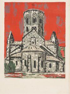 Une belle église se détachant d'un ciel rouge.