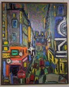 Lyon centrale, la rue, vers 1974. Huile su toile, 162 x 130 cm. Collection du musée Jean Couty.