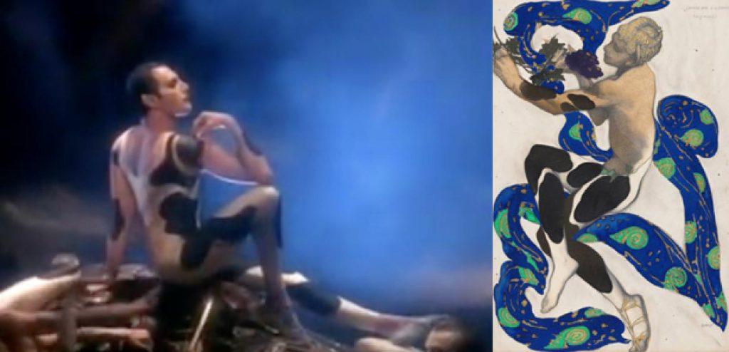 I Want to Break Free, Queen, 1984 et L'Après-Midi d'un faune, aquarelle, Bakst, 1912