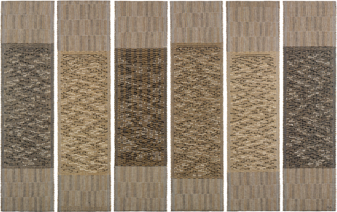 Anni Albers, Six Prayers, 1966–67, cotton, lin, lurex argenté, 186 × 48.9 cm pour chaque panneau, Jewish Museum, New York.