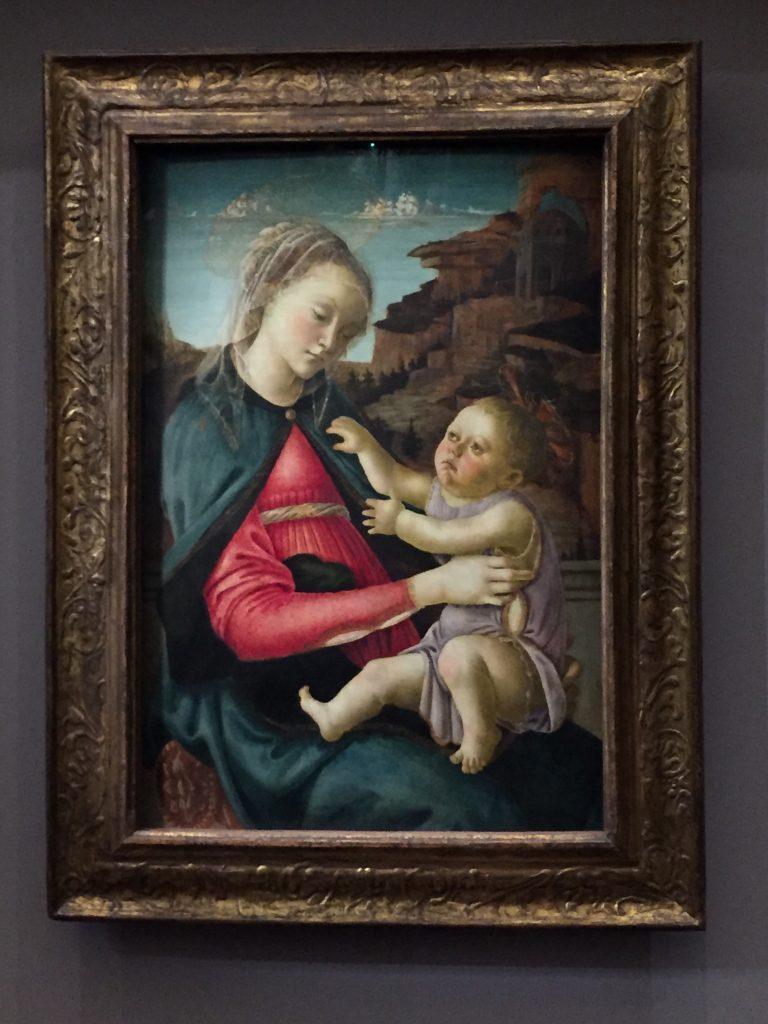 Alessandro Filipepi dit Botticelli, Vierge à l'Enfant dite Madone des Guidi de Faenza, vers 1465-1470, tempera sur bois de peuplier, Louvre