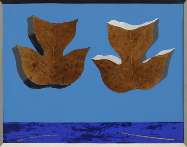 Josef Albers, Leaf Study II, v. 1940, feuilles, papier de couleur, adhésif, 36.8 × 46.7 cm, The Josef and Anni Albers Fundation.